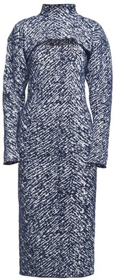 3.1 Phillip Lim Herringbone Jacquard Removable Shrug Knit Midi Dress