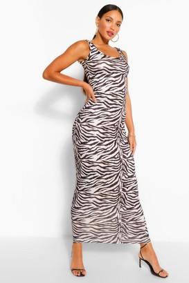 boohoo Tall Zebra Print Maxi Dress