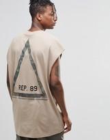 Asos Super Oversized Sleeveless T-shirt With Camo Triangle Back Print