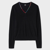 Paul Smith Women's Black Merino Wool V-Neck Sweater With Stripe Detail