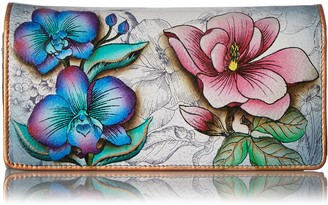 Anuschka Hand Painted Accordion Flap Wallet Floral Fantasy Wallet One Size