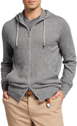 Brunello Cucinelli Men's Cashmere Full-Zip Hoodie Sweater