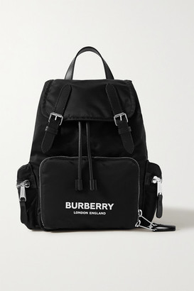 Burberry Leather-trimmed Shell Backpack - Black