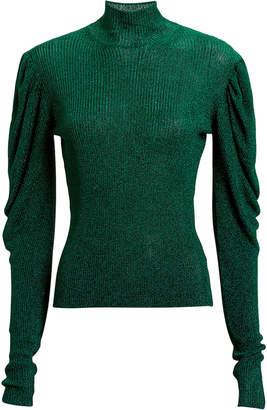 Caroline Constas Puff Sleeve Turtleneck Sweater