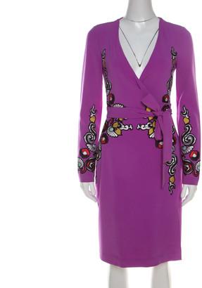 Diane von Furstenberg Crepe Floral Applique Violette Soft Iris Wrap Dress XS