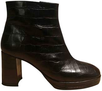 Miista \N Black Leather Ankle boots