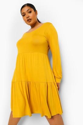 boohoo Plus Tiered Jersey Smock Dress