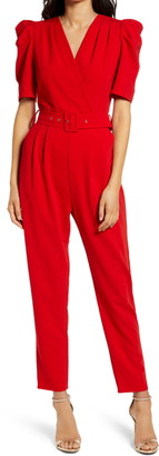 Adelyn Rae Yereli Belted Short Sleeve Jumpsuit