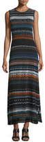 Fuzzi Sleeveless Tribal-Print Maxi Dress, Blue Universal