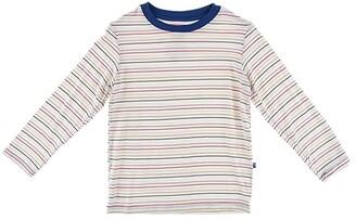 Kickee Pants Kids Long Sleeve Easy Fit Crew Neck Tee (Toddler) (Everyday Heroes Multi Stripe) Kid's Clothing