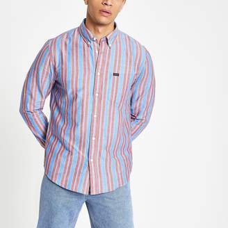 Lee Mens River Island Pink stripe regular fit shirt