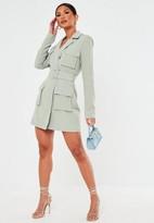 Missguided Mint Tailored Utility Blazer Dress