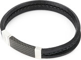 Tateossian Carbon slide sterling silver and leather bracelet
