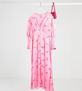 Never Fully Dressed Plus button through puff sleeve maxi dress in lobster print