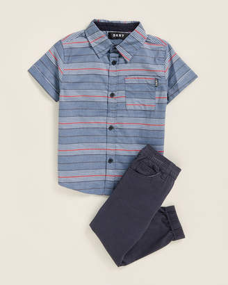 DKNY Toddler Boys) Two-Piece Sport Shirt & Jogger Set