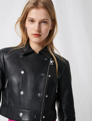 Maje Short leather jacket with asymmetric zip
