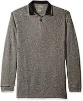 Haggar Men's Big and Tall Long Sleeve Motion Soft Brushed Back Tweed Quarter Zip Sweater