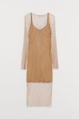 H&M Rhinestone-detail Mesh Dress - Beige