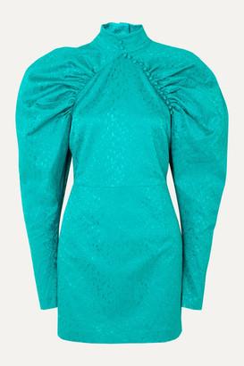 Rotate by Birger Christensen Kim Button-detailed Snake-jacquard Mini Dress - Teal