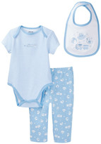 Little Me Blue Toys Bodysuit, Pants & Bib Set (Baby Boys)