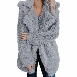 Tuduz Outerwear TUDUZ Womens Artificial Wool Cardigan Coat Jacket Ladies Winter Warm Turn-Down Collar Fuzzy Fleece Open Front Parka Outwear(Gray) L