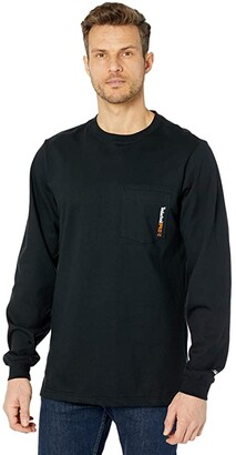 Timberland FR Cotton Core Long Sleeve Pocket T-Shirt with Logo (Blaze Orange) Men's Clothing
