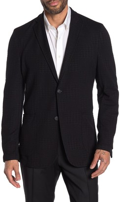 Vince Camuto Black Solid Houndstooth Embosssed Two Button Notch Lapel Stretch Blazer