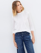 Maison Scotch Embroidered Star Pintuck Blouse