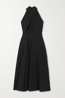 Alexander McQueen Pleated Cotton-poplin Halterneck Maxi Dress - Black