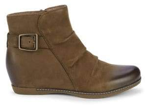 Dansko Lia Buckled Ruched Leather Booties