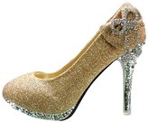 Getmorebeauty Women's Bow Crystal Glitter Wedding Shoes
