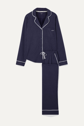 DKNY Signature Striped Cotton-blend Jersey Pajama Set - Navy