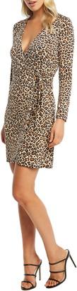 Bardot Leopard Long Sleeve Wrap Dress