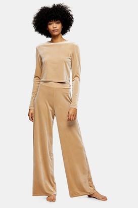 Topshop Womens Velvet Loungewear Wide Leg Trousers - Champagne