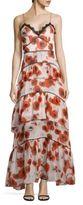 Nicholas Floral Ruffled Silk Gown