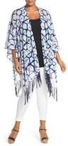 Foxcroft Plus Size Women's Fringed Batik Print Knit Ruana