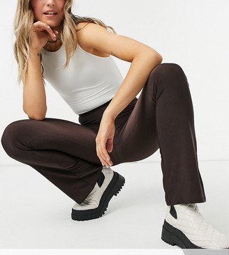 Collusion slinky legging flares in chocolate brown