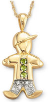 JCPenney FINE JEWELRY 18K Gold-Plated Sterling Silver Birthstone Boy Charm Pendant Necklace