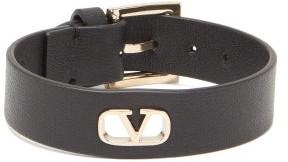 Valentino V-logo Leather Bracelet - Mens - Black