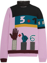 Valentino Tulle-trimmed Intarsia Wool And Cashmere-blend Sweater - Pink