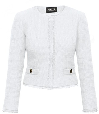 Rumour London Gabrielle Cream Tweed Jacket with Fringing Detail