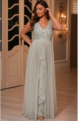 Sistaglam YASMIN SAGE GREEN SEQUIN V NECK DETAILED TOP TIERED BRIDESMAID DRESS