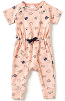 Petit Lem Baby Girls Newborn-6 Months Fish-Print Short-Sleeve Coverall