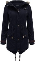Thumbnail for your product : Brave Soul Ladies Womens Fur Oversized Hood Fishtail Parka Military Jacket Navy Size 8