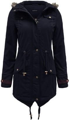 Brave Soul Allure Ladies Faux Fur Parka Coat - Black -Large