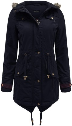 Brave Soul Ladies Womens Fur Oversized Hood Fishtail Parka Military Jacket Navy Size 8