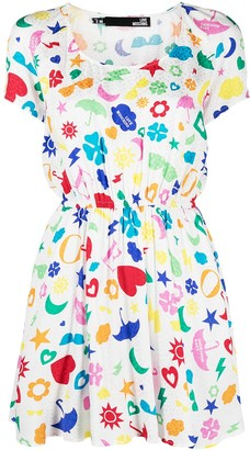 Love Moschino Weather Symbols-Print Mini Dress