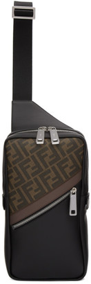 Fendi Black and Brown Forever Messenger Bag