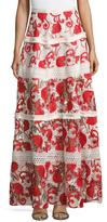 Alexis Jula Lace Fringe Trimmed Maxi Skirt