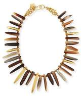 Ashley Pittman Nyasi Horn Collar Necklace, Brone